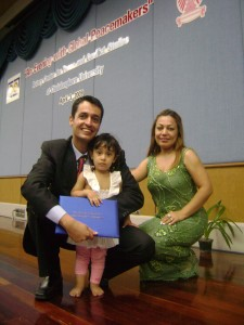 Jaff poses with his wife and daughter at his 2009 graduation from the Rotary peace and conflict resolution program at Thailand's Chulalongkorn University. (Contributed photo)